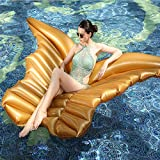 LYzpf Flotador Inflable Alas de Angel Gigante Colchoneta Hinchable para Playa de Verano Piscina Juguete Agua Fiesta Natación para Adultos y Niños,Golden