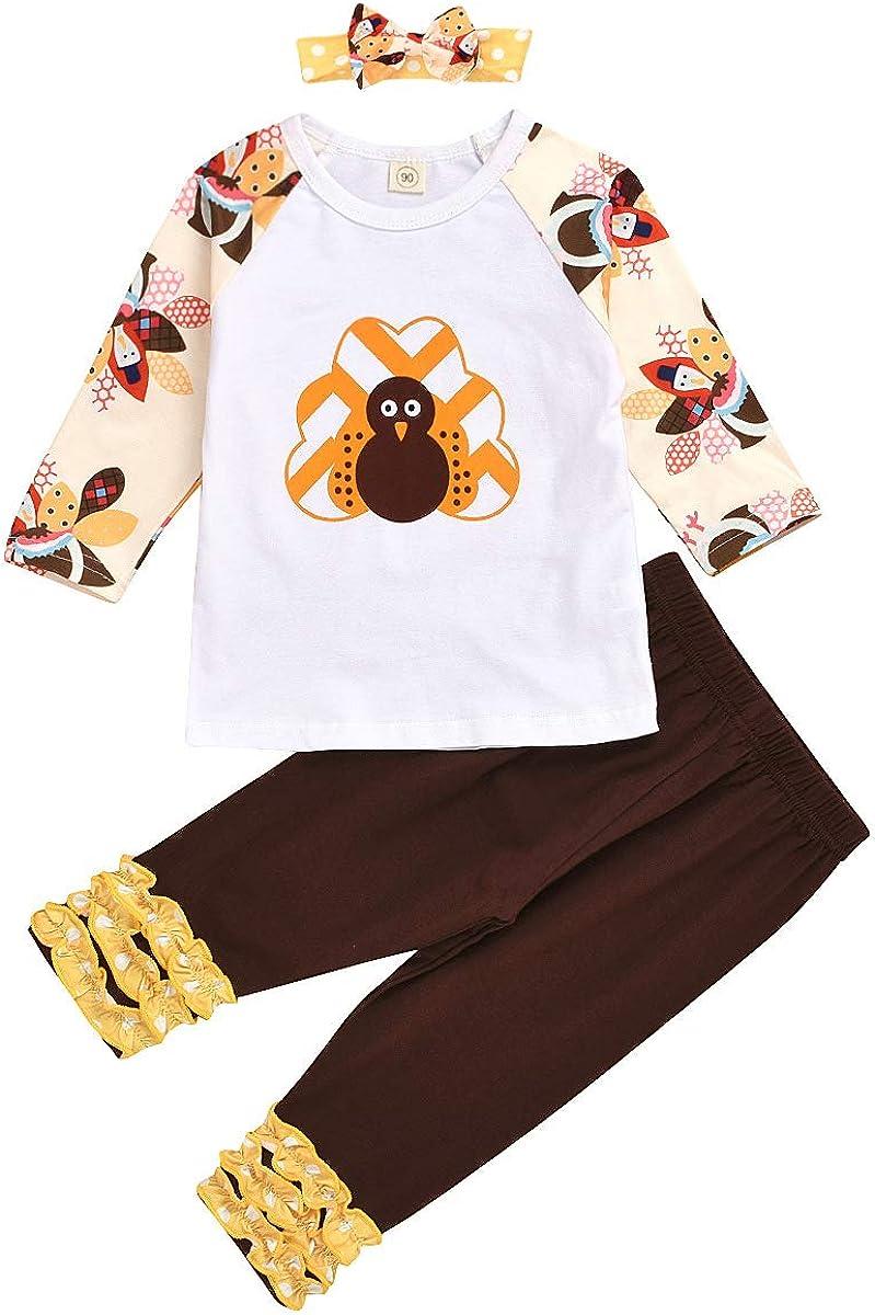 Amberetech Thanks Giving Infant Baby Girls 3pcs Pants Set Turkey Day Shirt+Ruffle Long Pants+Headband Outfit