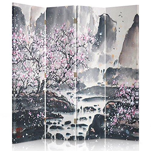 Feeby Frames Biombo Impreso sobre Lona, tabique Decorativo para Habitaciones, a una Cara, de 4 Piezas (145x150 cm), Cerezo Rosa