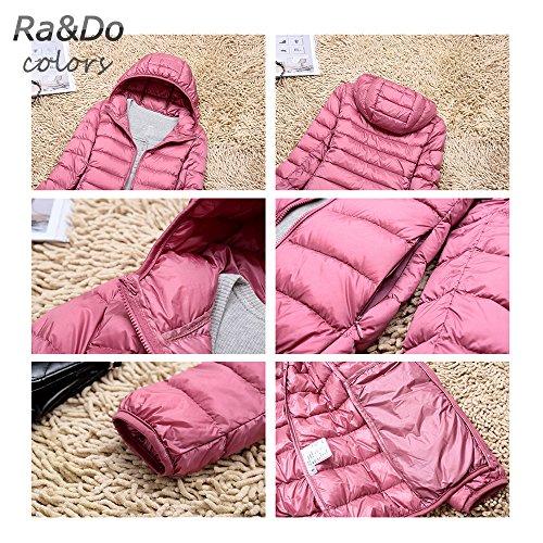 『Ra&Do ダウンジャケット レディース 軽量 防風 防寒 ダウン コート ライトダウン 収納袋付き R080 (S (帽)カーキ)』の4枚目の画像