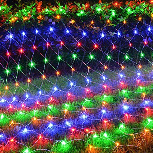 LED Fairy String Lights Twinkle Net Light Firefly Starry Super Bright 8Lighting ModesController Christmas Tree Wedding Party Garden Yard Lawn Patio Decoration Curtain Lights (Colorful, 6.6X9.8ft)