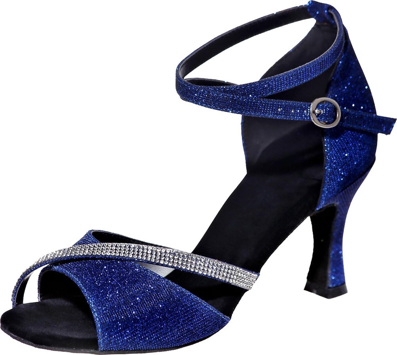 Vimedea Womens Professional Prettier Latin Dance shoes Tango Cha-Cha Swing Ballroom Party Wedding Practice Sudue Sole 3IN Ankle Straps Peep Toe Glitter PU