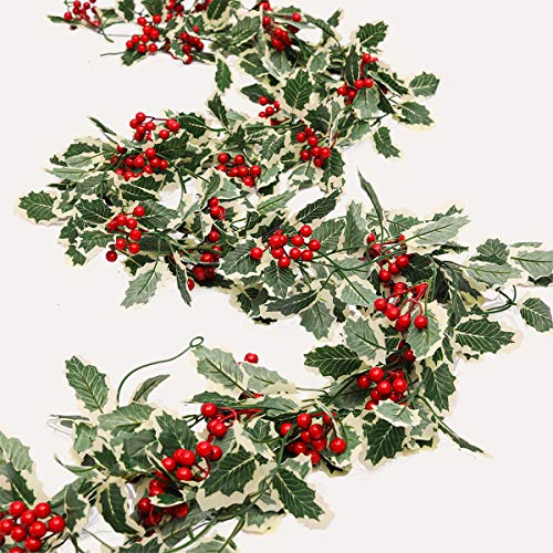 PARTY JOY Red Berry Christmas Garland Artificail Garland White Leaves Indoor Outdoor Garden Gate Hone Decoration Lights for Winter Holiday New Year Decor (Red, 4)