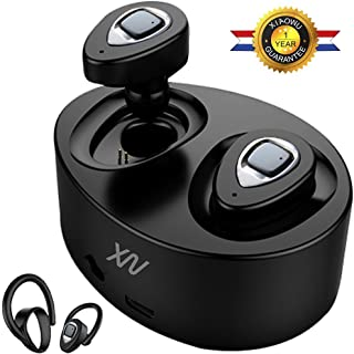 XIAOWU Bluetooth Headphones Wireless Earbuds Mini Bluetooth Headset with Microphone and Charging Case Noise Cancelling Earphones for iPhone 8 7/6/7Plus/6Plus and Android Samsung(K5-Grey)