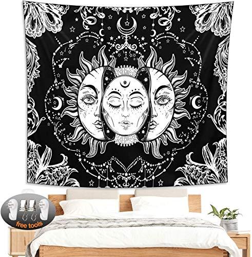 Tapisserie Wandbehang(150cm x 210cm) Sonne und Mond Wandteppich Brennende Sonne mit Sternen Wandteppiche Wandkunst Wandgemälde Wohnaccessoires für Schlafzimmer Wohnzimmer Dekor Schwarz und Weiß