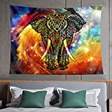 Rainbow Elephant Tapestry Bohemian Indian Colorful Hippie Trippy Astral Tie Dye Animal Psychedelic Polyester Hippy Aesthetic Room Wall Decor For Dorm Home Bedroom 59wx51 Inch