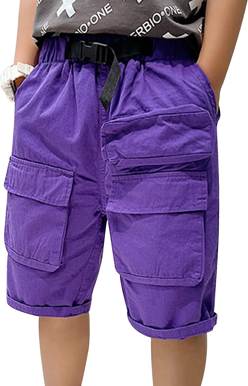 Yeahdor Kids Boys Cargo Shorts Summer Casual Short Pants Pockets Elastic Waist SweatShorts Jogging Bottoms