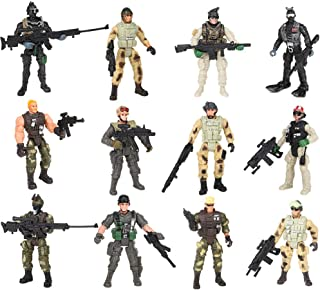 "PROLOSO Military Soldier Playset Special Forces Action Figures 4"" Army Men Rangers SWAT Models with Weapons and Accessories Counter Strike Toys Pack of 12"