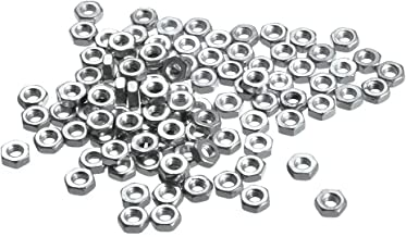 uxcell Hex Nuts, M2.5x0.45mm Metric Coarse Thread Hexagon Nut, Carbon Steel, Pack of 100 Silver Tone