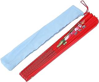 GLOGLOW Ventiladores Plegables de Mano, Artes Marciales del Tai Chi Ventilador Chino de la Seda del bambú de Kung Fu para el Entrenamiento de la práctica de la Danza de Wushu (Rojo)