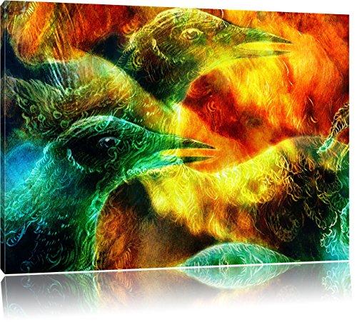 Vogel Phönix Collage, Format: 80x60 auf Leinwand, XXL riesige Bilder fertig gerahmt mit Keilrahmen, Kunstdruck auf Wandbild mit Rahmen, günstiger als Gemälde oder Ölbild, kein Poster oder Plakat