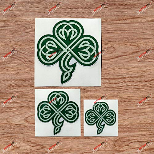 Shamrock Clover 3 Leaf Celtic Knot Ireland Irish Vinyl Decal Sticker - 3 Pack Reflective Green, 3 Inches, 4 Inches, 6 Inches Style E - for Car Boat Laptop Cup Phone