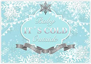Allenjoy 7x5ft Baby It's Cold Outside Backdrop Blue Winter Wonderland Supply Boy Girl Prince 1st Birthday Baby Shower Baptism Sliver Snowflake Sparkle Glitter Photography Background Decorations Props