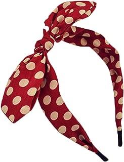Qiabao Womens Red Polka Dot Bow Pin-Up Hair Band Headband