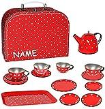 alles-meine.de GmbH Picknick Koffer _ 16 TLG. Set - Puppenkoffer & Puppengeschirr -  Punkte - rot weiß  - incl. Name - Tablett & Geschirr aus Blech - Metall - Blechgeschirr - S..
