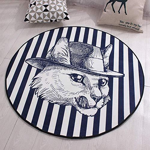NBALL-TT Anti-Rutsch-Teppichboden-Matten-Schutz Für Büro Und Zu Hause Schreibtisch Stühle Bürostuhl Teppich Für Bodenschutz Einfach Cool Cat Pattern,Diameter 100 cm