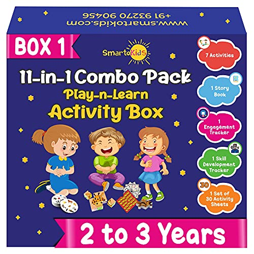 SmartoKids Activity Box for 2 Year Old Baby Boys & Girls (11-in-1 Set) – Learning & Educational Gift Pack of Play-based Explorer Toys, Puzzles, Board Games, Colours and Books with Indian Values
