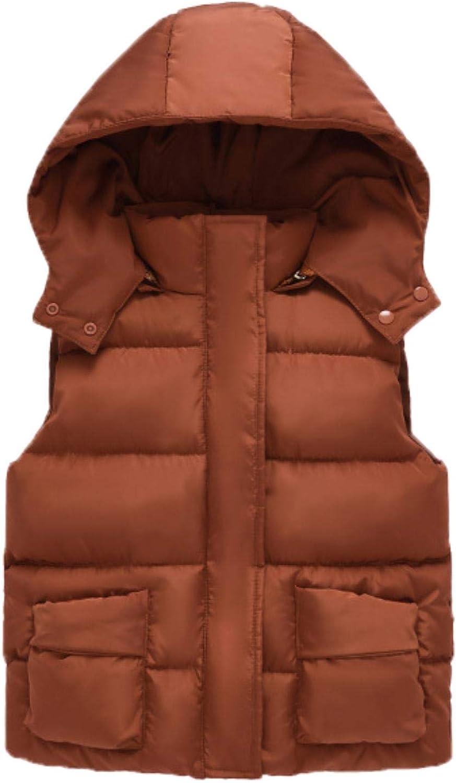 Girls Cotton Vest Autumn Kids Boys Sleeveless Jacket Child Baby Girls Coat ,brown,7T