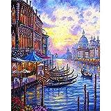 Hqingci Kits De Pintura por Números con Pinceles Y Pigmento Acrílico Pintura De Lienzo DIY para Adultos Principiante Puesta De Sol De Venecia