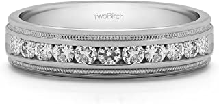 مجموعة خاتم زفاف للرجال من تو بيرش من الفضة الإسترلينية تتميز بتصميم ميلغراين مع ألماس (G,I2) (0.27ct المقاس 9).