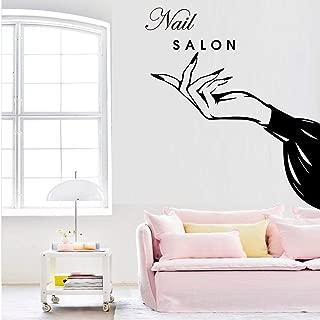 WSYYW Exquisite Nail Salon Vinyl Wall Sticker Beauty Salon Decoration Girl Bedroom Decoration Mural Shop Window Green L 43cm X 46cm