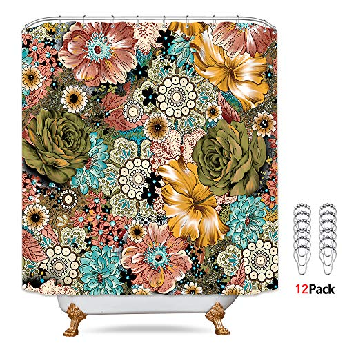 Riyidecor Boho Fancy Paisley Shower Curtain Bohemian Floral Mandala Haskell Medallion Colorful Ethnic Farmhouse Artwork Cloth 72x72 inch Fabric Bathroom Decor Set with 12 Pack Hooks