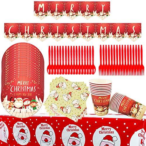 Platos Desechables y Vasos Cumpleaños BETOY 86 piezas Navidad Desechable Vajilla Accesorio...