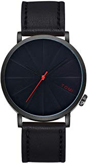 IEason,TOMI Fashion Casual Men 's Bussines Retro Design Leather Round Band Watch (B)
