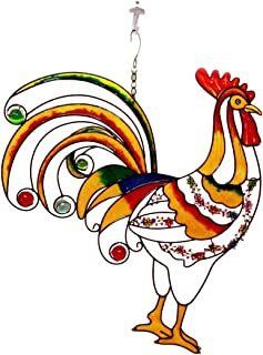 Ebros Gift Large Hanging Rise & Shine Colorful Gem Rooster Stained Glass Art Garden Patio Metal Wall Plaque 20
