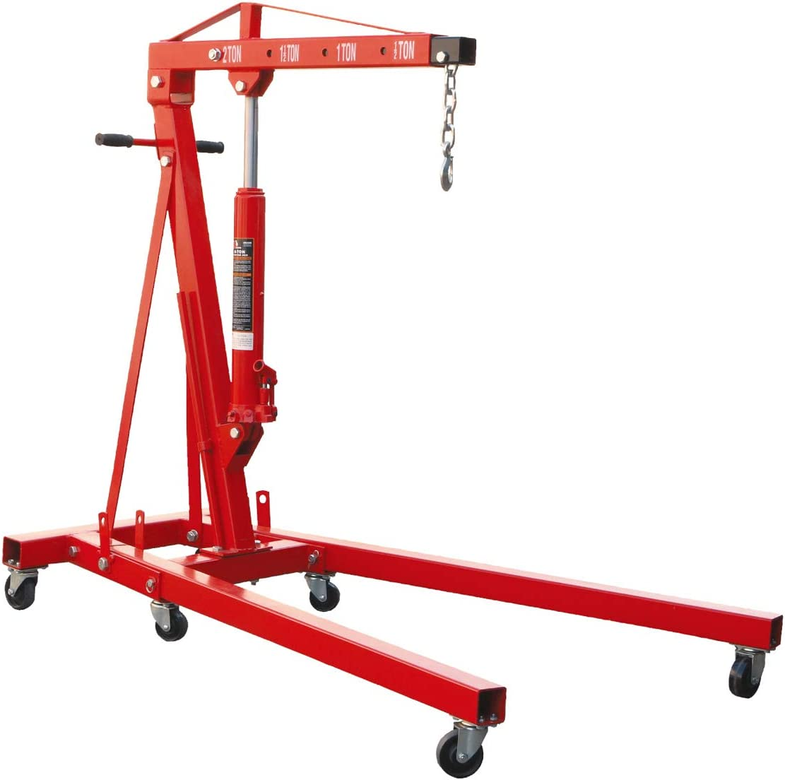 BIG RED T32001 Torin Steel Garage/Shop Crane Engine Hoist with Folding Frame, Hydraulic Long Ram Jack, and 4 Position Reinforced Boom, 2 Ton (4,000 lb) Capacity, Red