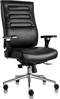 Executive Office Chair High Back Bonded Leather Desk Chair with Adjustable Armrests and Sliding Spring Seat (Black)