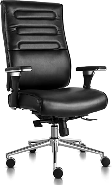 Executive Office Chair High Back Bonded Leather Desk Chair With Adjustable Armrests And Sliding Spring Seat Black