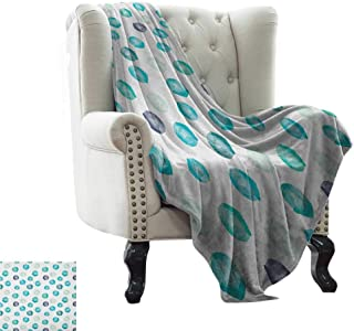 BelleAckerman Fleece Blanket Aqua,Hand Painted Style Round Shapes Pattern in Different Pastel Colors Abstract Design, Multicolor Microfiber All Season Blanket for Bed or Couch 70