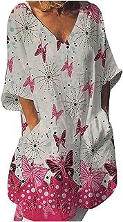 OULSEN Summer Loose Casual Blouse For Women Half Sleeve V-Neck Floral Tunic Shirt Top Long Blouse T-shirt Women Plus Size