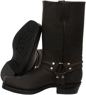 Grinders nouveau Eagle hi noir homme en cuir cowboy motard cheville bottes western chaussures
