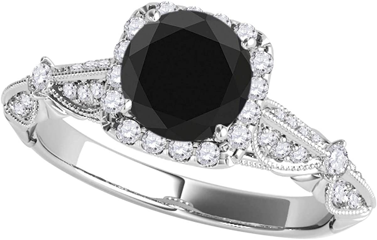 Large-scale sale MauliJewels Engagement Rings Max 61% OFF for Women Black Dia Carat Halo 1.30