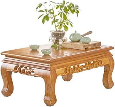 Solid Wood Kang Table Chinese Tea Table Coffee Table Floor Table Low Table Old Elm Tea Table Tatami Bay Window Table Kang Table Small Table Bed Table (Color : Brown, Size : 55 * 35 * 31cm)