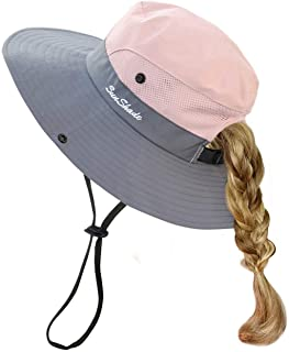 HGGE Kids Girls Sun Hat UV Protection Wide Brim Beach Cap with Ponytail Hole