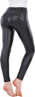 Leather PU Elastic Shaping Hip Push up Butt Lift Pants Black Sexy Leggings for Women