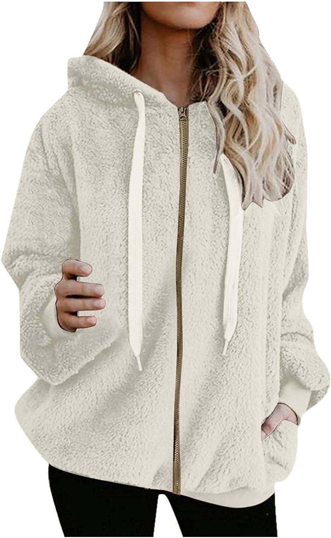 ODJOY-FAN Women Sherpa Pullover Fuzzy Fleece Hoodies Winter Warm Wool Furry Jacket Sweatshirt Plus Size Outwear with Zipper