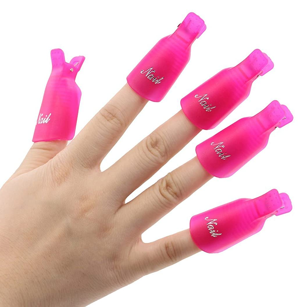 Beauticom? 10Pcs *HOT PINKY RED* Acrylic Nail Art Soak Off Cap Clip UV Gel Polish Remover Wrap Reusable Keeper Manicure Tool ndjziecfilv02