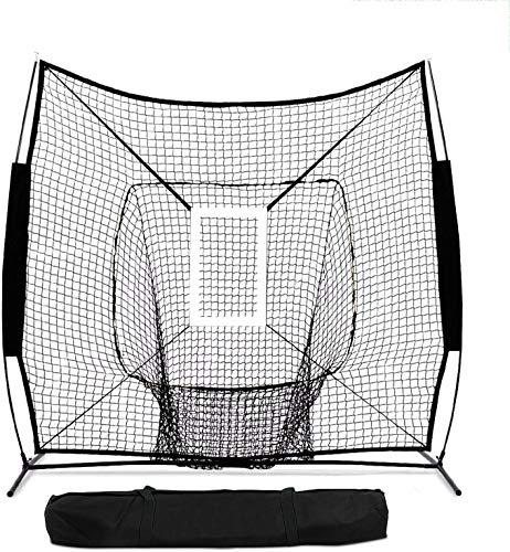 YEEGO Direct - Red de entrenamiento de béisbol portátil de 7 x 7 pies con bolsa de transporte y marco de arco y zona de golpe Bonus