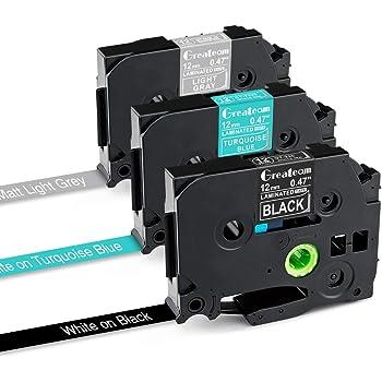 ピータッチキューブ テープ ブラザー P-touch テープ 12mm ブラザー工業 ピータッチ tz tzeテープ TZe-335 TZe-T535 TZe-MQL35【3色セット】互換品 ブルー地に白文字、グレー地に白文字、黒地に白文字、長さ8m