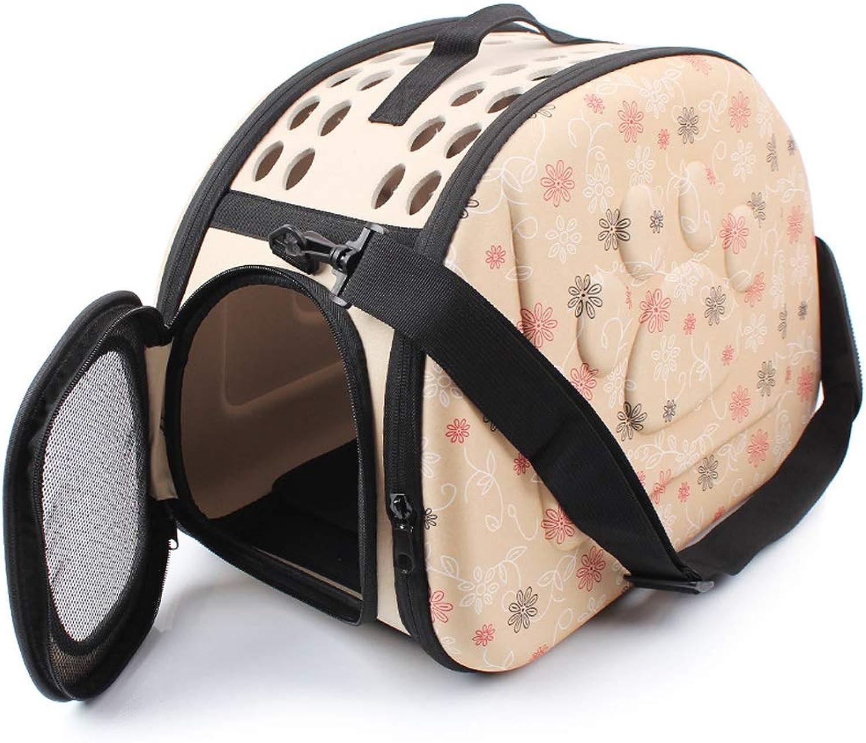 LLYU Portable pet bag, folding carrier pet cage car seat pet seat (43  27  31cm) (color   Champagne color)