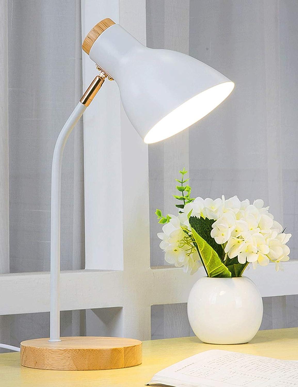 Schlafzimmer-Nachttischlampe, Wohnzimmerdekorationslampe, Leselampe aus Massivholzsockel (wei)