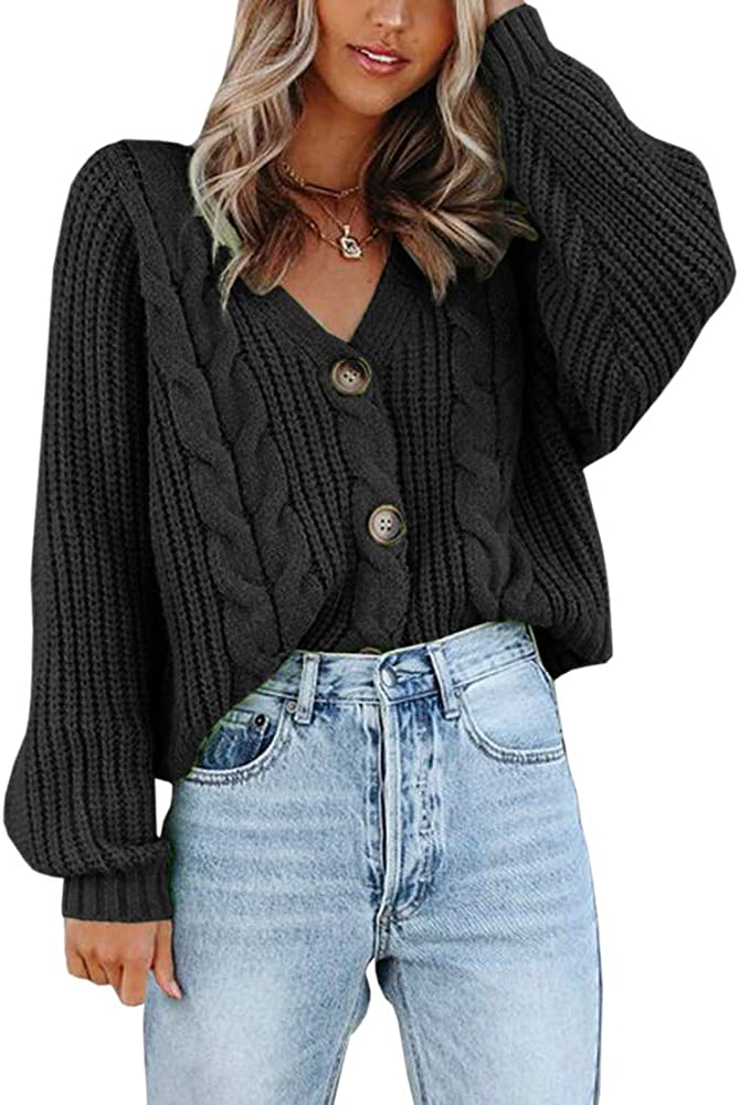 Womens V Neck Button Down Cropped Cardigans Chunky Cable Knit Long Sleeve Sweater Tops Outwear