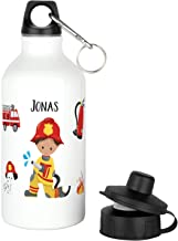 Kinder Trinkflasche mit Wunsch-Namen aus Aluminium in wei/ß f/ür Schulanfang Schule Kindergarten f/ür Jungs