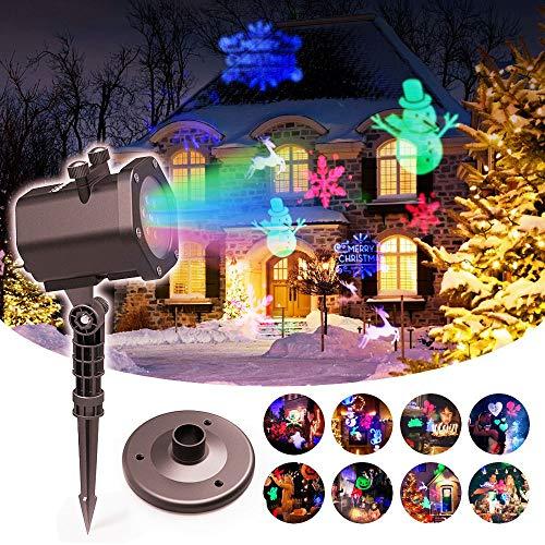 Noël Projecteur de lumière LED Lampe - Fête, Soirée, Extérieur, Halloween, Yard, Intérieur Lampe Décorative, Éclairage de scène, Lumière Colorée (Rouge, Vert, Bleu, Blanc) 15 Motifs Télécommande