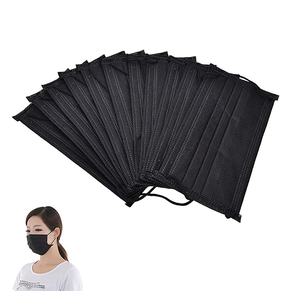 SuBoZhuLiuJ 10Pcs Non Woven Disposable Face Mouth Face Mouth Masks Anti-Dust Surgical Medical Earloops - Black