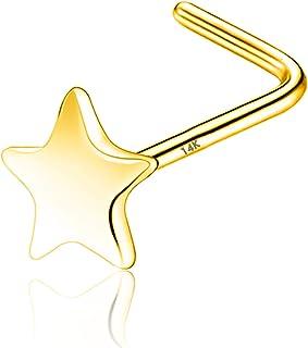 COCHARM 14k الذهب الأنف الدائري مسمار 20 مقياس L على شكل الأنف ثقب المجوهرات للنساء الرجال